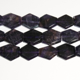 Amethyst 30x25mm Faceted Hexagon Beads - 8 Inch Strand
