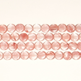 Cherry Quartz 12mm Coin Beads - 8 Inch Strand