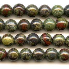 Dragon Blood Jasper 10mm Round Beads - 8 Inch Strand