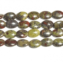 Dragon Blood Jasper 10x14mm Oval Beads - 8 Inch Strand