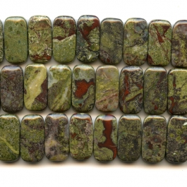 Dragon Blood Jasper 10x20mm Double Drilled Beads - 8 Inch Strand