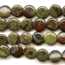 Dragon Blood Jasper 12mm Coin Beads - 8 Inch Strand