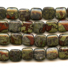 Dragon Blood Jasper 12mm Square Beads - 8 Inch Strand