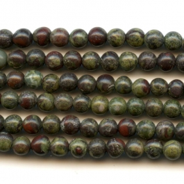 Dragon Blood Jasper 4mm Round Beads - 8 Inch Strand