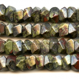 Dragon Blood Jasper 7x12mm Faceted Nugget Beads - 8 Inch Strand