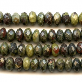 Dragon Blood Jasper 8mm Faceted Rondelle Beads - 8 Inch Strand