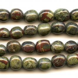 Dragon Blood Jasper 8x10mm  Nugget Beads - 8 Inch Strand
