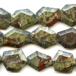 Dragon Blood Jasper 25x30 mm Faceted Hexagon Beads - 8 Inch Strand