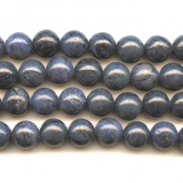 Dumorterite 10mm Round Beads - 8 Inch Strand