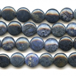 Dumortierite 12mm Coin Beads - 8 Inch Strand
