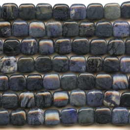 Dumortierite 12mm Square Beads - 8 Inch Strand