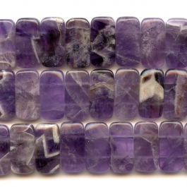 Dog Teeth Amethyst 10x20mm Double Drilled Beads - 8 Inch Strand