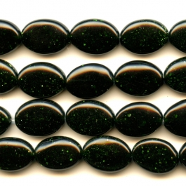 Green Goldstone 10x14mm Oval Beads - 8 Inch Strand