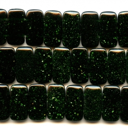Green Goldstone 10x20mm Double Drilled Beads - 8 Inch Strand
