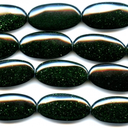Green Goldstone 15x30mm Oval Beads - 8 Inch Strand