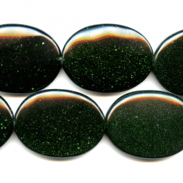 Green Goldstone 30x40mm Oval Beads - 8 Inch Strand