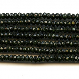 Green Goldstone 6mm Faceted Rondelle Beads - 8 Inch Strand