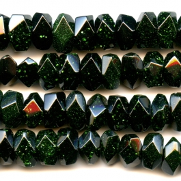Green Goldstone 7x12mm Faceted Nugget Beads - 8 Inch Strand