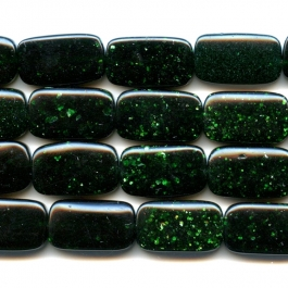 Green Goldstone 8x14mm Rectangle Beads - 8 Inch Strand