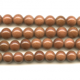 Goldstone 10mm Round Beads - 8 Inch Strand