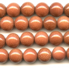 Goldstone 12mm Round Beads - 8 Inch Strand