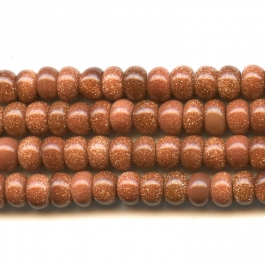 Goldstone 6mm Rondelle Beads - 8 Inch Strand
