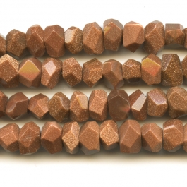 Goldstone 7x12mm Faceted Nugget Beads - 8 Inch Strand