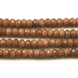 Goldstone 8mm Faceted Rondelle Beads - 8 Inch Strand