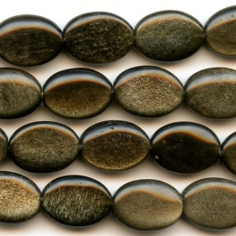 Golden Obsidian 10x14mm Oval Beads - 8 Inch Strand