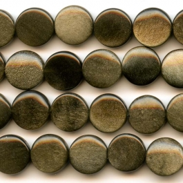 Golden Obsidian 12mm Coin Beads - 8 Inch Strand