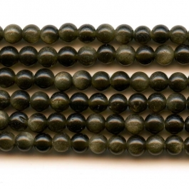 Golden Obsidian 4mm Round Beads - 8 Inch Strand