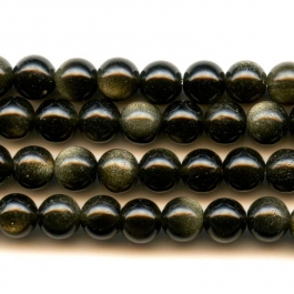 Golden Obsidian 6mm Round Beads - 8 Inch Strand