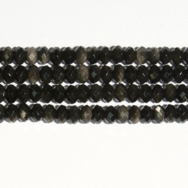 Golden Obsidian 8mm Faceted Rondelle Beads - 8 Inch Strand