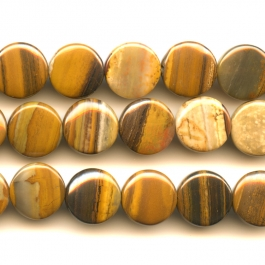 Iron Zebra Jasper 12mm Coin  Beads - 8 Inch Strand