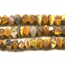 Iron Zebra Jasper 7x12mm Faceted Nugget Beads - 8 Inch Strand