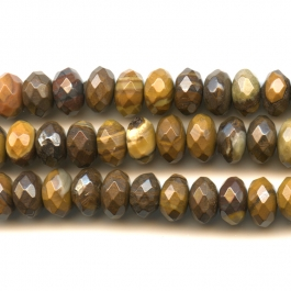 Iron Zebra Jasper 8mm Faceted Rondelle Beads - 8 Inch Strand