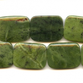 Jade 30x40mm Rectangle Beads - 8 Inch Strand
