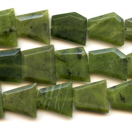 Jade Faceted Trapezoid Beads - 8 Inch Strand