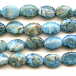 Blue Crazy Lace Agate 10x14mm Oval Beads - 8 Inch Strand