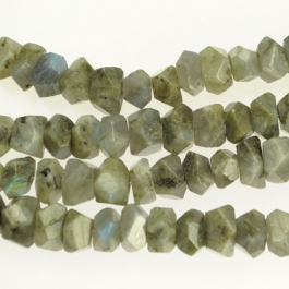 Labradorite 7x12mm Faceted Nugget Beads - 8 Inch Strand