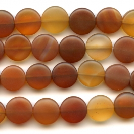 Matte Carnelian 12mm Coin Beads - 8 Inch Strand
