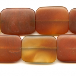 Matte Carnelian 30x40mm Rectangle Beads - 8 Inch Strand