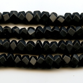 Matte Onyx 7x12mm Faceted Nugget Beads - 8 Inch Strand