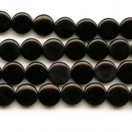 Onyx 12mm Coin Beads - 8 Inch Strand