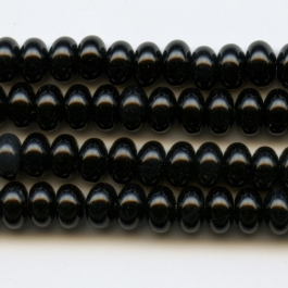 Onyx 6mm Rondelle Beads - 8 Inch Strand