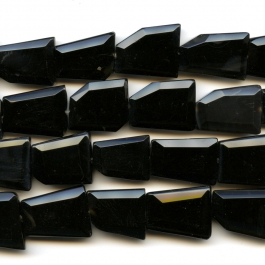 Onyx Faceted Trapezoid Beads - 8 Inch Strand