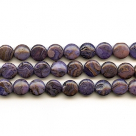 Purple Crazy Lace Agate 12mm Coin Beads - 8 Inch Strand