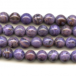 Purple Crazy Lace Agate 12mm Round Beads - 8 Inch Strand