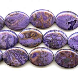 Purple Crazy Lace Agate 30x40mm Oval Beads - 8 Inch Strand