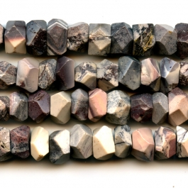 Porcelain Jasper 7x12mm Faceted Nugget Beads - 8 Inch Strand